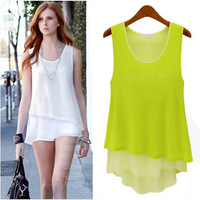 2014 New summer women's new candy-colored stitching fake two wild chiffon camisole dress shirt bottoming S-M-L-XL-XXL