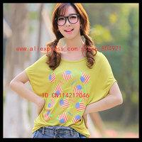 Free shipping High quality  short Batwing sleeve  printing women tee shirt 630-4