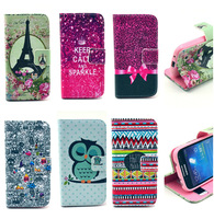 Luxury Keep Calm Flower Owl Flip Wallet Card Stand Leather Cases Cover For Samsung Galaxy S3 mini i8190 S4 mini i9190 Handbags