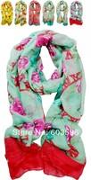 180*90cm Fashion Women/Girls Voile Soft Rose Flower Chiffion Print Scarf Long Wrap Beach Shawl