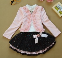 4sets/lot 3PCS Spring/Autumn Kids Girls Clothing Set Girl's Pearl Jacket+ TUTU Skirt+Diamond Shirt, Children Outfits, FMY007