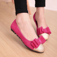 Single shoes 2014 soft leather bow flat bottom single shoes paillette sweet round toe flat heel shoes women's single shoes