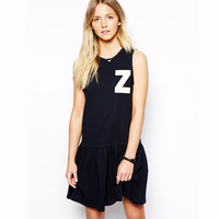 2014 NEW fashion ladies summer dress Z letter print black sleeveless pleated sweep preppy style  dress free shipping