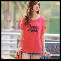Free shipping High quality  short Batwing sleeve  printing women tee shirt 630-10