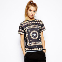 2014 new series summer Vintage print short-sleeve o-neck  t-shirt  ladies t-shirt free shipping