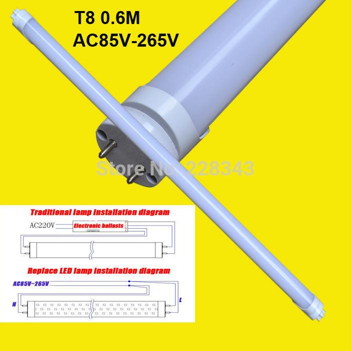 Spedizione gratuita 2pcs/lot 600mm10w t8 luce del tubo del led lampadina 2835 smd 830lm ac85v-265v 110v 220v rohs ce lampadine led& tubi