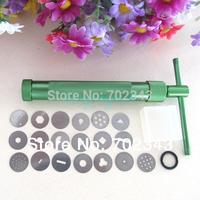 19Discs Clay Fimo Extruder Craft Gun Cake Sculpture Sugarcraft Tool Green Color