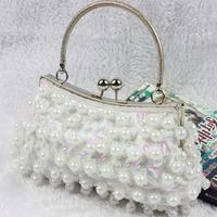 Pearl fashion vintage pearl the wedding bag bridal bag bridesmaid bag dinner beaded portable women's handbag chain bag