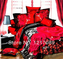 SUNA unique wedding bedclothes cotton red Rose 4pc bedding set 3d Full king queen bed sheet Linen Duvet/Quilt cover sets(China (Mainland))