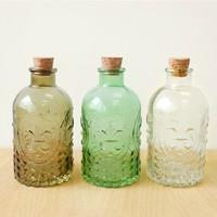 U-pick vintage carved glass bottle tampion wishing bottle hydroponics vase flower zakka