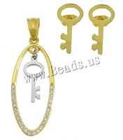 Free shipping!!!Stainless Steel Jewelry Set,Designs, pendant & earring, Key, plated, with rhinestone, 15x36x2mm, 7x14.5mm