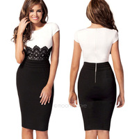 2014 New Fashion Womens Empire Vintage Crochet Lace Square neck Bodycon Fitted Shift Party Pencil Dress 20E1387#S5