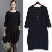 2014 fashion plus size clothing middle and long-sleeve choosing black spring dress fit fat females 100KG