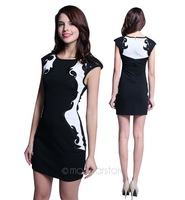 new 2014 women summer dress short sleeve slim dress patchwork print  Elegant dresses bodycon dress 21E2689