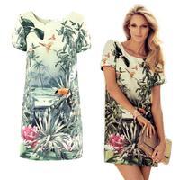 Women Europe Fashion Women's Painting Landscape Print Floral Chiffon Dress LE1362