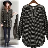 Free shipping 2014 plus size clothing spring black Polka dot loose long-sleeve T-shirt