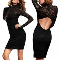 Black Sex Hollow Out Backless Lace Dress Bodycon Casual Dress Long-Sleeve Slim Mini Dress LE1086