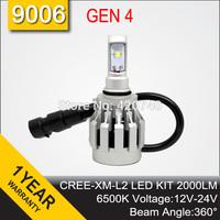 Free Shipping 2014 NEW GEN 4 CREE LED Headlight Headlamp Conversion Kit 9006 2000LM 12V 24V Aluminum Alloy IP68 6500K 360 Degree