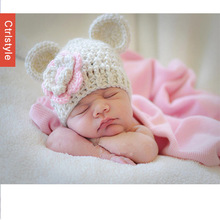 Knit Flower Bear Pattern 2014 New Arrival Baby Hat+Free Shipping