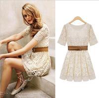 With Belt! Free Shipping 2014 Promotion Women Summer Fashion Sexy Short Sleeve Lace  Vintage Elegant Dress hot sale