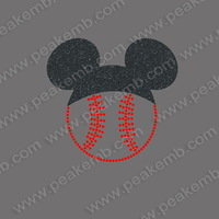 Hot Selling 50Pcs/Lot Free Shipping Baseball Glitter Transfer Iron On Mickey Motif Custom Applique Designs