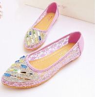 Purple gauze breathable shoes female flat cutout women's flat heel summer shoes maternity shoes