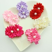 HOT SALE 2014 new fashion ribbon flower with pearl with hairclips for girls hairpins hair accessoies