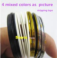 2014 New 4 Mix Color Rolls Striping Tape Metallic Yarn Line Nail Art Decoration DIY Nail Art Tips Stickers
