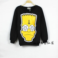 2014 new fashion sweatshirts cartoon Simpson head print women hoody  tops Black plus size pullovers hoodies