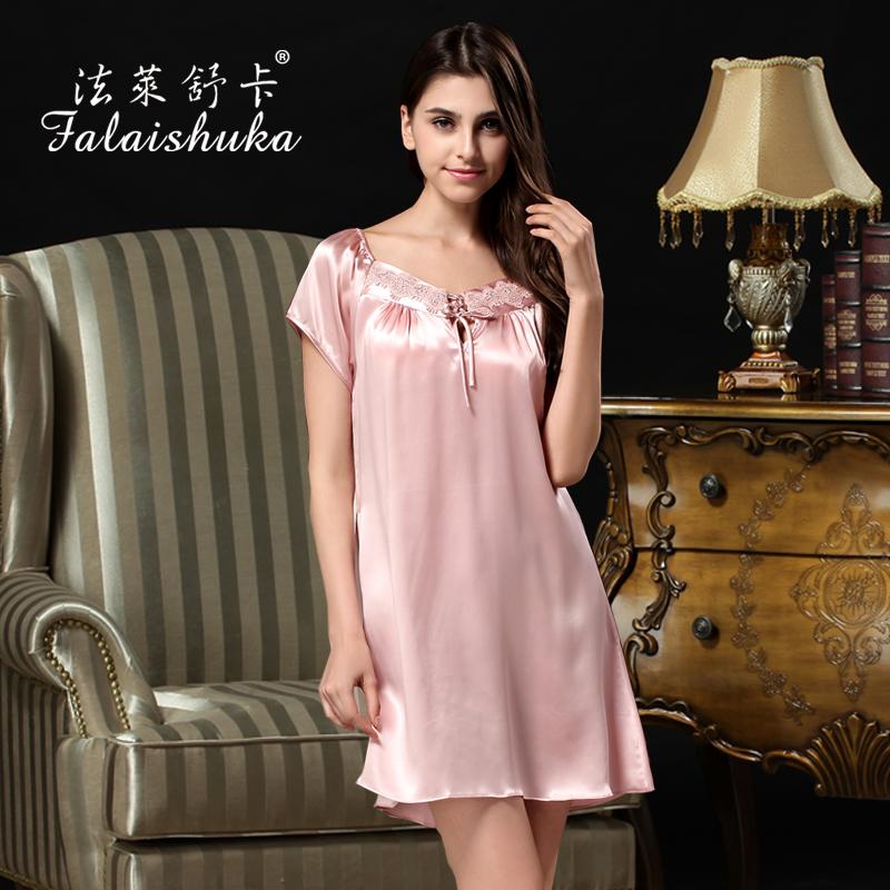 Mm plus size mulberry silk short-sleeve silk nightgown sleepwear elegant nightgown summer sleepwear lounge(China (Mainland))