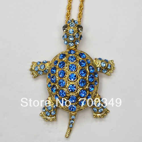 Wholesale Sapphire Crystal Rhinestone Can Swing Sea Turtle Tortoise Pendant Necklaces Sweater Chain Jewelry F011 B2(China (Mainland))