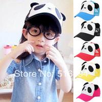 Retail Hot Spring children's baseball cap hat Children's cartoon panda mesh cap 4 color children cap unisex  free shipping