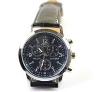 Men's Casual Watches Stainless steel Case Analog watches Imitation Leather Strap Unisex Quartz Watch fashion wristwatches