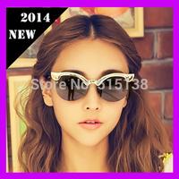 2014 Vintage Designer Cat Eye Sunglasses Metal Rimless Frame Brand Sunglasses for Women Multicolor lens gafas de sol 1PCS S851