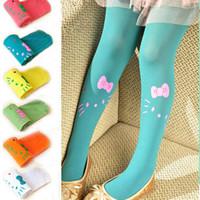 Quality girls Kitty leggings children's stockings candy color velvet pantyhose uc152