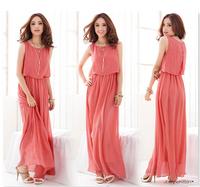2014 new women chiffon dress long summer sundress good quality 4 colors casual dress women beach Layered dress RED/Black