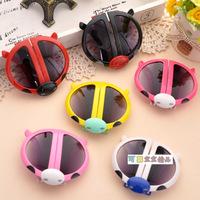 New arrival sunglasses children sun glasses cartoon ladybug  glasses for kids folding dress glass baby boys girls YJ5098