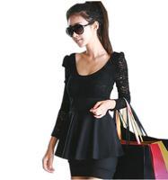 Women's long Sleeve Lace Slim Mini Pencil Dress patchwork ladies  black Lady casual Dress 45E0134#S5