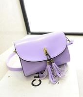 2014 women's handbag tassel shoulder bag vintage candy color women's cross-body bags small bag