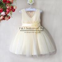 Free Shipping Princess Girl Dress Beige Wedding Gown Dresses With Cute Flower Grace Summer Dress Kids Clothes GD40418-10^^EI