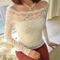 Free Shipping Women Fashion Big Size Slach neckline sexy slim Lace Shirts,Ladies lace blouse S M L XL 2XL 3XL 4XL 5XL 6XL