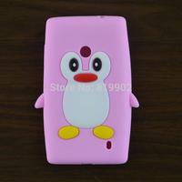 New Cartoon Cute Penguin Silicone Soft Case Skin Cover For Nokia Lumia 520 525 Phone Case Bag + free gift