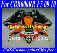 Injection Molded Fairing kit for HONDA CBR600RR 09 10 CBR600 CBR600RR F5 2009 2010 REPSOL Red black ABS Fairings bodykit ZC16