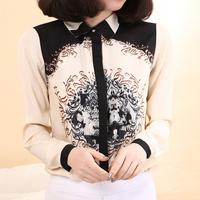 2014 New Arrival Women's All-match Fashion Vintage Pattern Print Chiffon Shirt Beige Long-sleeve Slim Blouse(S,M,L)