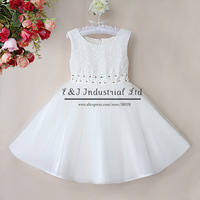 Free Shipping Girls Dresses Pure White Wedding Dress With Rhinestone Belt Summer Dress Children Clothes Kids Wear GD40418-16^^EI