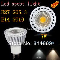 50PCS/LOT5X  LED Spot light 7W MR16 E27 E14 GU5.3 GU10 COB led lamp Warm White /Pure White bulb Lamp Spotlight Free Shipping
