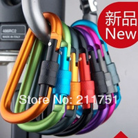 High quality  New 5pcs Aluminum 8CM Carabiner D-Ring Key Chain Clip Hook  Buckle Outdoor Backpack