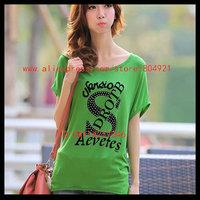 Free shipping High quality  short Batwing sleeve  printing women tee shirt 630-11