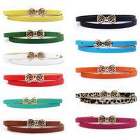 Free Shipping 2014 Brand New Fashion Women's Lady PU Leather Thin Narrow Bowknot Waist Belt Waistband Strap