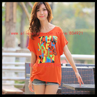 Free shipping High quality  short Batwing sleeve  printing women tee shirt 630-9